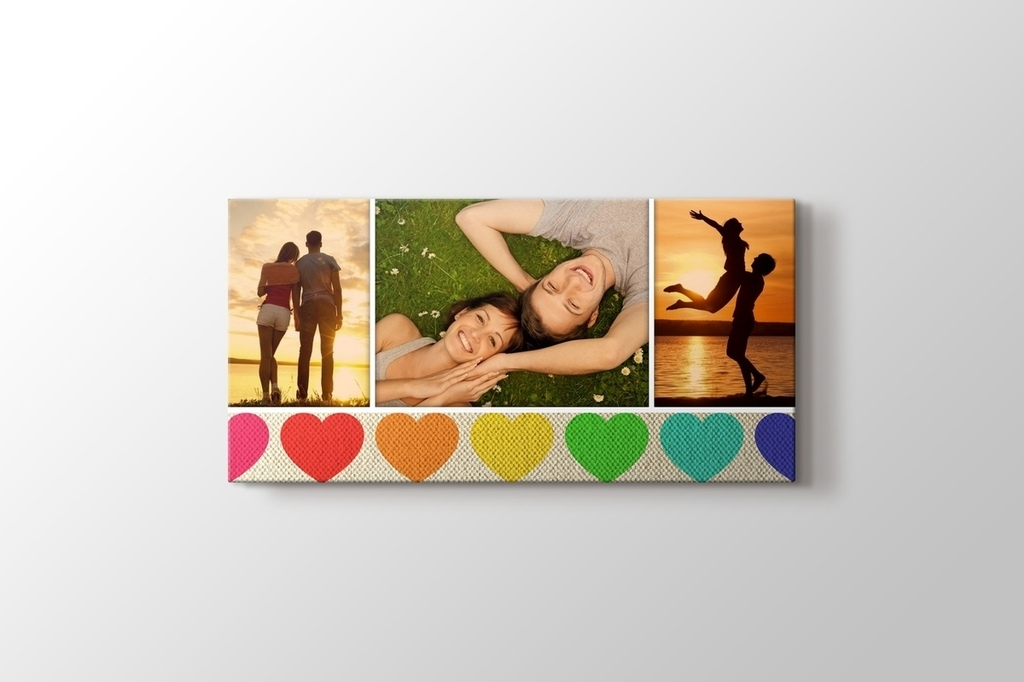 Picture of Three Photos on Canvas with Hearts