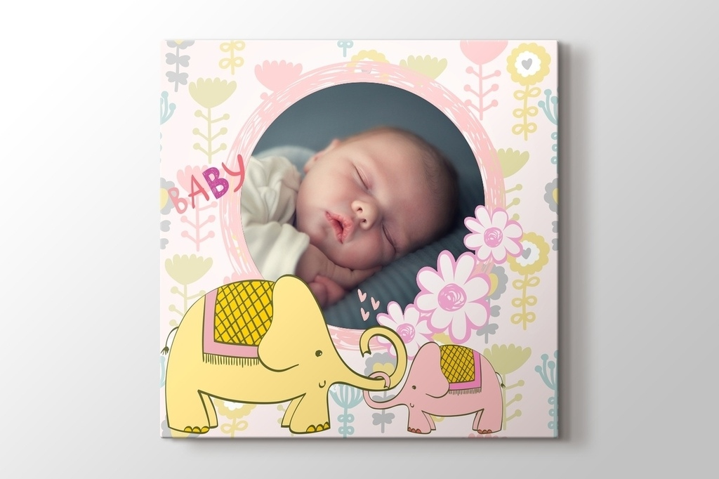 Picture of Cute Elephants Photo on Canvas Print