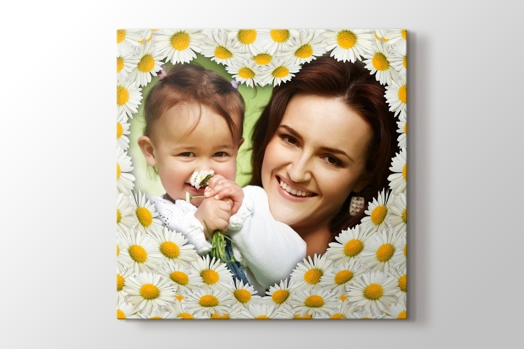 Picture of Daisies with Heart Photo on Canvas