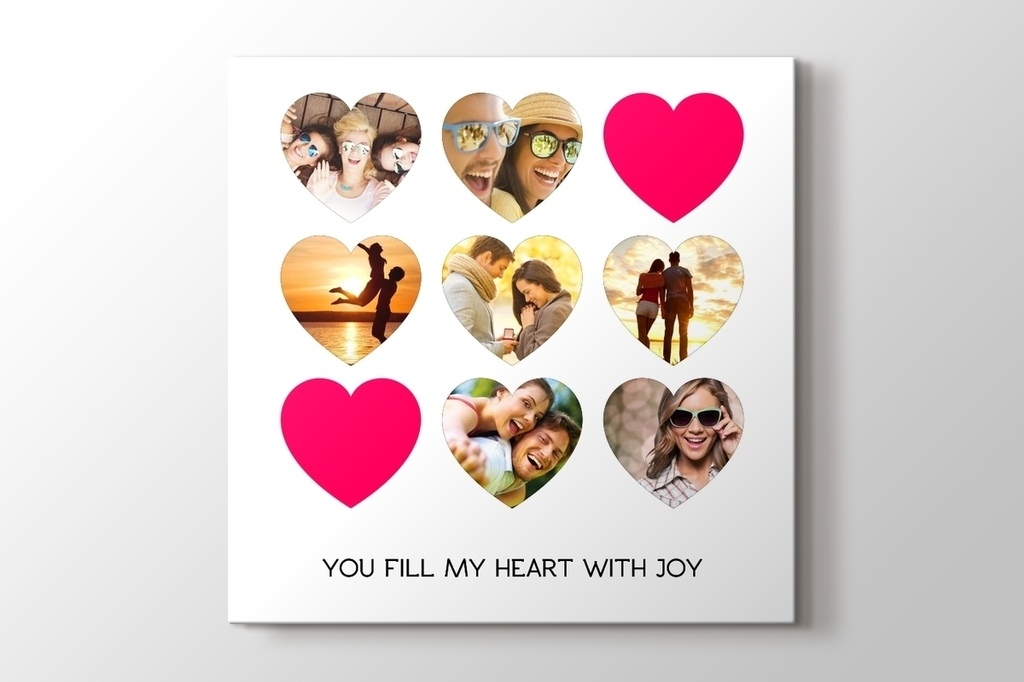 Picture of Seven Hearts Photo Collage Canvas