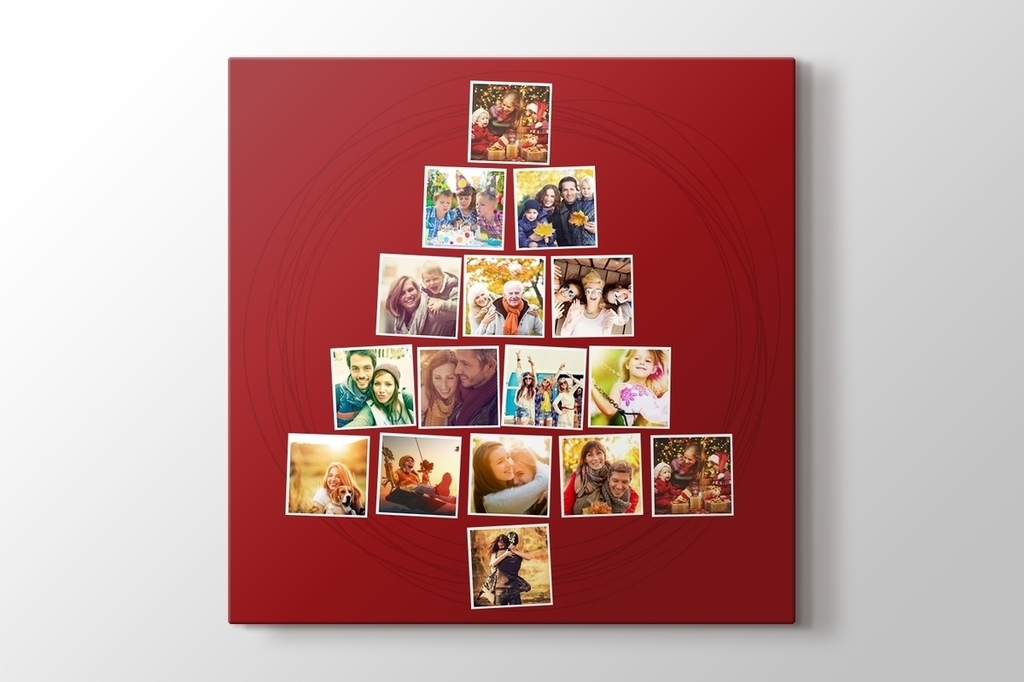 Picture of 16 photos to Christmas tree dark red mosaic canvas print