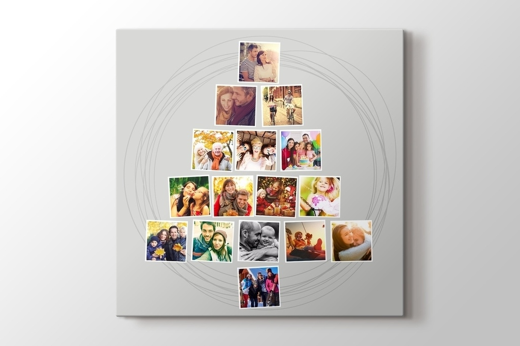 Picture of 16 photos to Christmas tree gray mosaic canvas print
