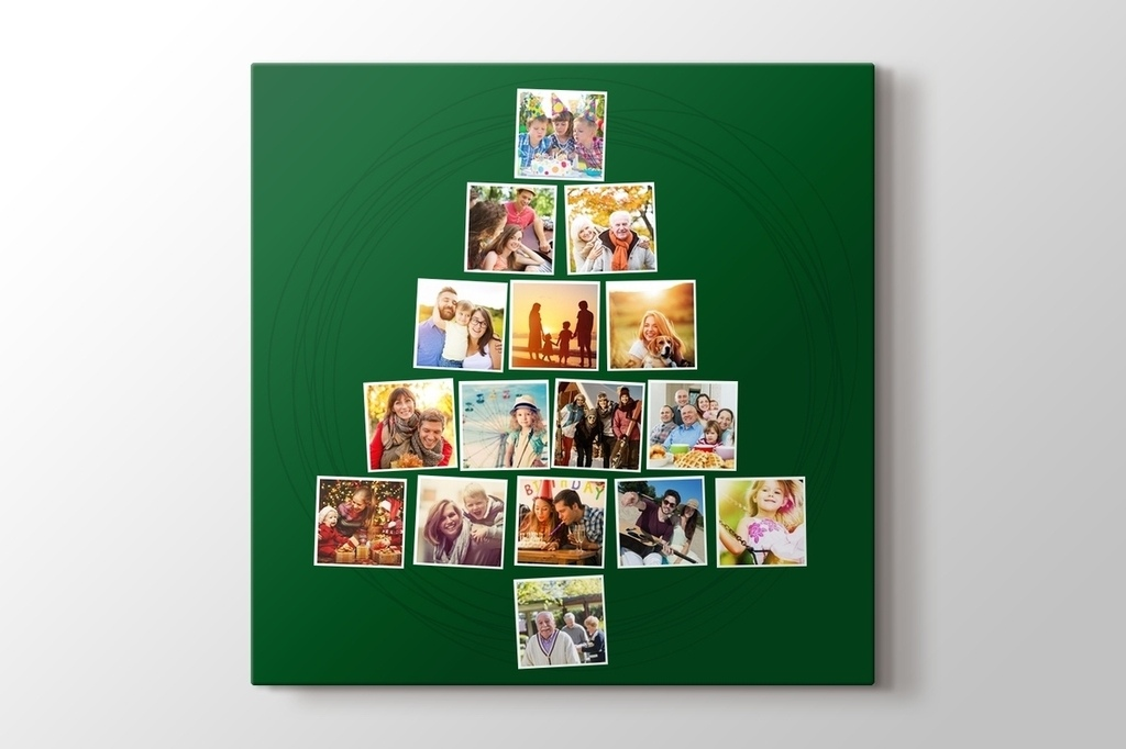 Picture of 16 photos to Christmas tree green mosaic canvas print