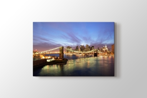 Picture of City Skyline and Brooklyn Bridge