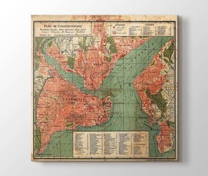 Vintage Constantinople Map Canvas Print - PlusCanvas