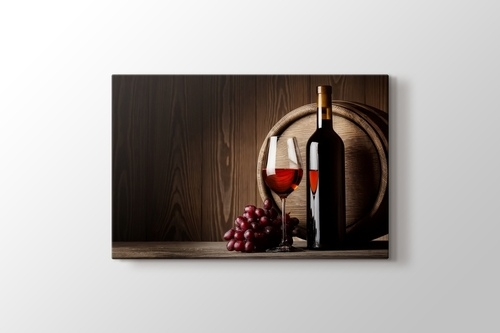 Picture of Red Grape Wine and Bottle