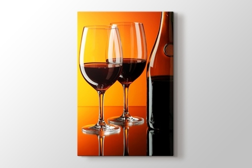 Picture of Red Wine over Orange Wall