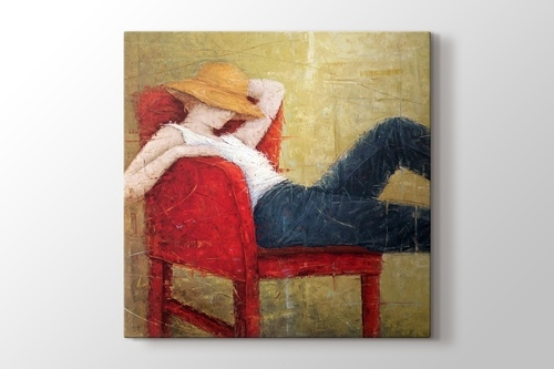 Picture of Woman Laying On Red Chair