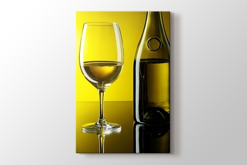 Picture of White Wine over Yellow Wall