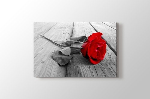 Picture of Red Rose on Wood