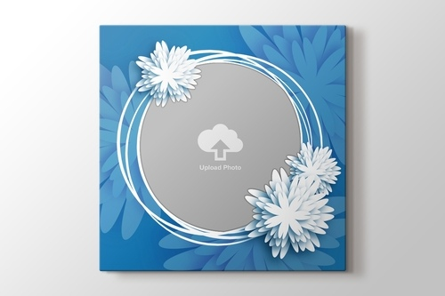 Picture of Circle Border Daisy Photo on Canvas - Blue