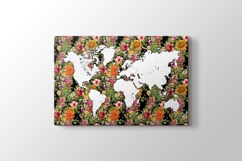 Picture of World Map Floral