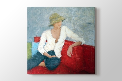 Picture of Woman Sitting On Red Chair